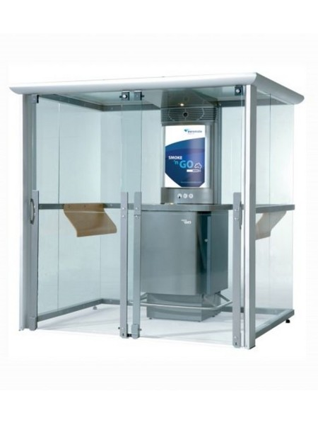 Cabina fumatori con sistema di filtrazione assoluta, tavolo con piano in faggio e posacenere ermetico integrato