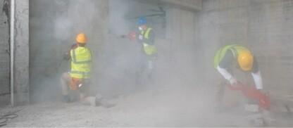 polveri in sospensione presenti nei cantieri edili