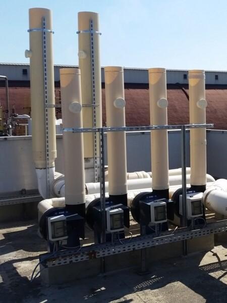 Impianto di aspirazione con elettroventilatori centrifughi